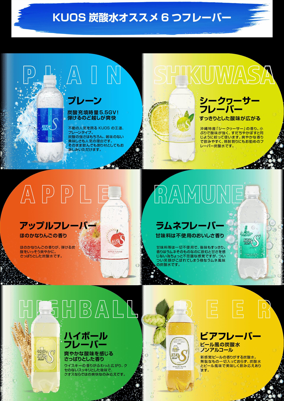 KUOS炭酸水おすすめ6つのフレーバー。プレーン、シークヮーサー、アップル、グレープフルーツ、ハイボール、ビア。